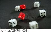 Купить «Dice on poker table 4k», видеоролик № 29704639, снято 6 апреля 2017 г. (c) Wavebreak Media / Фотобанк Лори