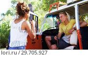 Купить «Friends having fun in camper van 4k», видеоролик № 29705927, снято 9 марта 2017 г. (c) Wavebreak Media / Фотобанк Лори