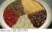 Купить «Various types of spices in plate 4k», видеоролик № 29707751, снято 5 июня 2017 г. (c) Wavebreak Media / Фотобанк Лори