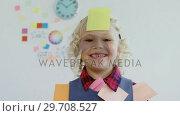 Купить «Kid as business executive with sticky notes on his body 4k», видеоролик № 29708527, снято 13 апреля 2017 г. (c) Wavebreak Media / Фотобанк Лори