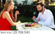 Купить «Couple toasting glasses of wine in outdoor restaurant 4k», видеоролик № 29708543, снято 21 ноября 2016 г. (c) Wavebreak Media / Фотобанк Лори