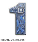 Купить «Number 1 one, Alphabet in circuit board style. Digital hi-tech letter isolated on white.», фото № 29708935, снято 8 декабря 2019 г. (c) Maksym Yemelyanov / Фотобанк Лори