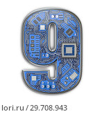 Купить «Number 9 nine Alphabet in circuit board style. Digital hi-tech letter isolated on white.», фото № 29708943, снято 8 декабря 2019 г. (c) Maksym Yemelyanov / Фотобанк Лори
