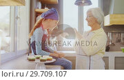 Купить «Grandma letting little girl to smell freshly baked muffins 4K 4k», видеоролик № 29709107, снято 25 мая 2017 г. (c) Wavebreak Media / Фотобанк Лори