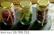 Купить «Vegetables kept in jars 4k», видеоролик № 29709723, снято 12 июня 2017 г. (c) Wavebreak Media / Фотобанк Лори
