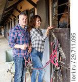 Купить «Mature smiling couple with girth feeding a horse at stable», фото № 29711095, снято 4 июля 2018 г. (c) Яков Филимонов / Фотобанк Лори