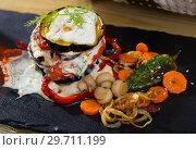 Купить «Grilled eggplants with tomatoes», фото № 29711199, снято 16 июля 2019 г. (c) Яков Филимонов / Фотобанк Лори