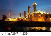 Купить «industry plant and river in evening», фото № 29711239, снято 25 марта 2019 г. (c) Яков Филимонов / Фотобанк Лори