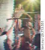 Купить «Portrait with glitch effect of female go-go dancer», фото № 29713551, снято 28 августа 2017 г. (c) Яков Филимонов / Фотобанк Лори