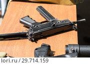 Купить «Russian firearms. Submachine gun Kedr», фото № 29714159, снято 27 мая 2017 г. (c) FotograFF / Фотобанк Лори