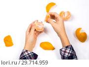 Купить «Подросток очищает мандарин от кожуры», фото № 29714959, снято 2 декабря 2018 г. (c) V.Ivantsov / Фотобанк Лори
