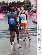 Купить «Vitality Big Half Marathon in London. The Finish Line and Presentations at the Cutty Sark in Greenwich, London Featuring: Mo Farah, Callum Hawkins Where...», фото № 29716211, снято 4 марта 2018 г. (c) age Fotostock / Фотобанк Лори