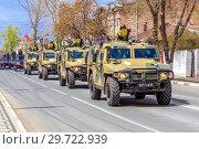 """Купить «Russia, Samara, May 2018: Army special armored vehicle """"Tiger"""" in the city.», фото № 29722939, снято 5 мая 2018 г. (c) Акиньшин Владимир / Фотобанк Лори"""