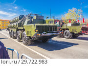 Купить «Russia, Samara, May 2018: Anti-aircraft missile system (SAM) S-300 parked up on the city street», фото № 29722983, снято 5 мая 2018 г. (c) Акиньшин Владимир / Фотобанк Лори