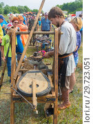 Купить «Russia, Samara, July, 2018: Blacksmithing workshop. Ethno-historical festival with the reconstruction of the battle of 1391 (Timur and Tokhtamysh)», фото № 29723051, снято 29 июля 2018 г. (c) Акиньшин Владимир / Фотобанк Лори