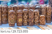 Купить «Russia, Samara, July, 2018: Wooden amulet toys. Ethno-historical festival with the reconstruction of the battle of 1391 (Timur and Tokhtamysh)», фото № 29723055, снято 29 июля 2018 г. (c) Акиньшин Владимир / Фотобанк Лори