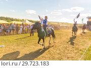 Купить «Russia, Samara, July, 2018: Solemn departure of the group of horse race at the festival.», фото № 29723183, снято 29 июля 2018 г. (c) Акиньшин Владимир / Фотобанк Лори