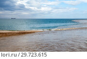 Summer seascape with muddy river water. Стоковое фото, фотограф EugeneSergeev / Фотобанк Лори