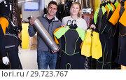 Купить «Adult woman and man are satisfied of costumes», фото № 29723767, снято 25 января 2018 г. (c) Яков Филимонов / Фотобанк Лори