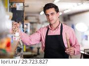 Купить «Portrait of craftsman in carpentry», фото № 29723827, снято 8 апреля 2017 г. (c) Яков Филимонов / Фотобанк Лори