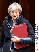 Купить «Britain's Prime Minister Theresa May leaves No. 10 Downing Street to attend the Prime Minister's Questions (PMQs) at the House of Commons. Featuring: Prime...», фото № 29725267, снято 7 марта 2018 г. (c) age Fotostock / Фотобанк Лори