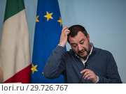 Купить «Italian Minister of Interior and Deputy Prime Minister Matteo Salvini during the press conference on the arrest of Italian former terrorist fugitive Cesare...», фото № 29726767, снято 14 января 2019 г. (c) age Fotostock / Фотобанк Лори