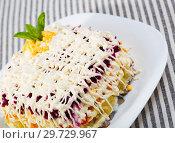 Купить «Russian dressed herring salad», фото № 29729967, снято 26 июня 2018 г. (c) Яков Филимонов / Фотобанк Лори