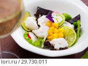 Купить «Codfish ceviche with lime and mango», фото № 29730011, снято 18 июля 2019 г. (c) Яков Филимонов / Фотобанк Лори