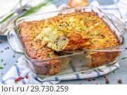 Potato kugel casserole, jewish cuisine. Стоковое фото, фотограф Марина Сапрунова / Фотобанк Лори
