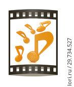Купить «Yellow music notes. 3d render. Film strip.», фото № 29734527, снято 17 сентября 2019 г. (c) Guru3d / Фотобанк Лори