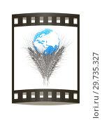 Купить «Metal ears of wheat and Earth. Symbol that depicts prosperity, wealth and abundance. 3d render. Film strip.», фото № 29735327, снято 16 сентября 2019 г. (c) Guru3d / Фотобанк Лори