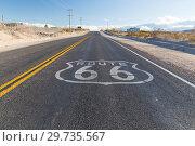 Купить «route 66 asphalt road in united states of america», фото № 29735567, снято 3 марта 2018 г. (c) Syda Productions / Фотобанк Лори