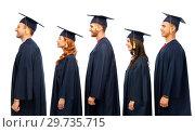 Купить «graduates in mortar boards and bachelor gowns», фото № 29735715, снято 10 ноября 2018 г. (c) Syda Productions / Фотобанк Лори