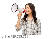 Купить «young woman or teenage girl with megaphone», фото № 29735731, снято 10 ноября 2018 г. (c) Syda Productions / Фотобанк Лори