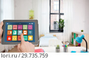 hands with smart home icons on tablet computer. Стоковое фото, фотограф Syda Productions / Фотобанк Лори