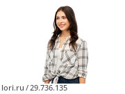Купить «young woman or teenage girl in checkered shirt», фото № 29736135, снято 10 ноября 2018 г. (c) Syda Productions / Фотобанк Лори