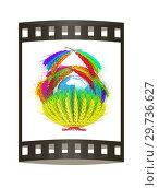 Купить «A colorful basket of wheat for Easter or Thanksgiving. Global concept with the earth ball inside. 3d render. Film strip.», фото № 29736627, снято 17 сентября 2019 г. (c) Guru3d / Фотобанк Лори