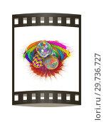 Купить «Colored basket of the ears of wheat with Easter eggs. 3d render. Film strip.», фото № 29736727, снято 17 сентября 2019 г. (c) Guru3d / Фотобанк Лори