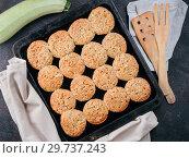 Купить «Baking tray with vegetables muffins with zucchini», фото № 29737243, снято 15 октября 2017 г. (c) Ольга Сергеева / Фотобанк Лори