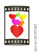 Купить «Colored hearts. 3d render. Film strip.», фото № 29737427, снято 17 сентября 2019 г. (c) Guru3d / Фотобанк Лори