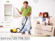 Купить «Husband helping leg injured wife in housework», фото № 29738323, снято 4 октября 2018 г. (c) Elnur / Фотобанк Лори