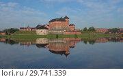 Купить «Старинная крепость-тюрьма на озере Ванаявеси июльским днем. Хамеенлинна, Финляндия», видеоролик № 29741339, снято 24 июля 2018 г. (c) Виктор Карасев / Фотобанк Лори