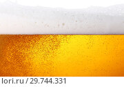 Купить «Close up background of beer with bubbles in glass», фото № 29744331, снято 1 сентября 2018 г. (c) Anton Eine / Фотобанк Лори