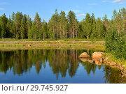 Купить «Northern landscape. Fabulous forest lake. Finland, Lapland», фото № 29745927, снято 13 июля 2018 г. (c) Валерия Попова / Фотобанк Лори