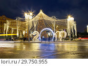 Купить «Christmas (New Year holidays) decoration in Moscow (at night), Russia. Lubyanskaya (Lubyanka) Square.», фото № 29750955, снято 13 января 2019 г. (c) Владимир Журавлев / Фотобанк Лори