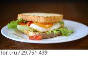Купить «Fresh sandwich with lettuce leaves and fried egg with hot toasts», видеоролик № 29751439, снято 19 января 2019 г. (c) Peredniankina / Фотобанк Лори