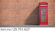 Купить «Red phone booth on brick wall background. London, british and english symbol. Space for text», фото № 29751627, снято 22 марта 2019 г. (c) Maksym Yemelyanov / Фотобанк Лори