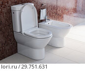 Купить «Toilet bowl and bidet in the modern bathroom.», фото № 29751631, снято 15 февраля 2019 г. (c) Maksym Yemelyanov / Фотобанк Лори