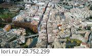 Купить «Aerial view of typical town of Basque Country. Estella-Lizarra. Spain», видеоролик № 29752299, снято 23 декабря 2018 г. (c) Яков Филимонов / Фотобанк Лори