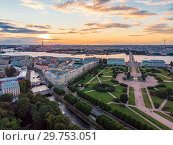 Купить «SAINT-PETERSBURG Russia: beautiful  aerial Top view of historic city centre St. Petersburg an the field of Mars, summer garden and the Neva river from the air, on a Sunny summer day.», фото № 29753051, снято 5 августа 2018 г. (c) Алексей Ширманов / Фотобанк Лори